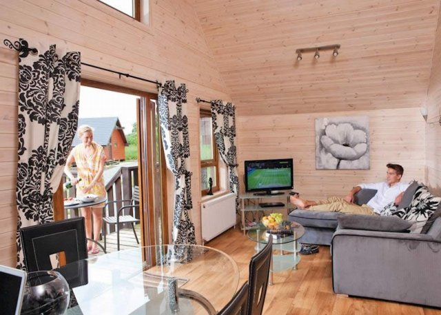 Comfortable lodge interior with contemporary styling